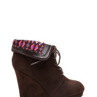 Walk The Talk Faux Suede Wedge Booties