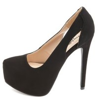 Side Cut-Out Platform Pumps by Charlotte Russe - Black