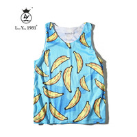ing Men Tank Summer Sleeveless Vest 3D Print Cartoon Banana Funny Undershirt Slim Fitness