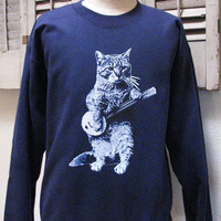 banjo shirt - cat shirt - vintage design BANJO CAT t-shirt - navy crew neck vintage sweatshirt