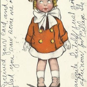 "Antique Postcard ""The New Hat"" Girl in Red Dress Great for Valentine's Day Artist Signed by Katharine Gassaway Copyrighted 1906"