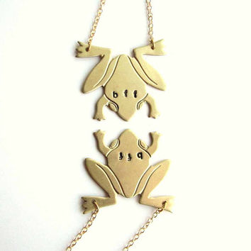 best friends frogs necklace set - bff hand stamped vintage brass frog jewelry