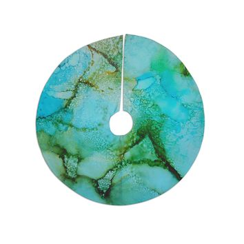 """Carol Schiff """"Sea Garden"""" Teal Green Abstract Contemporary Painting Watercolor Tree Skirt"""