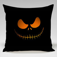 jack skellingtone scary face Nightmare beFore Christmas for halloween Square Pillow Case Custom Zippered Pillow Case one side and two side