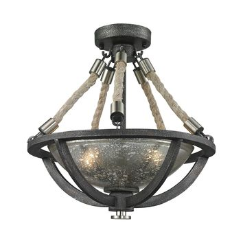 63052-2 Natural Rope 2 Light Pendant In Silvered Graphite With Polished Nickel Accents - Free Shipping!
