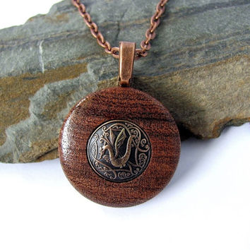 Dragon Necklace Pendant Chinese Year of the Dragon Draco Metal Repurposed Button Mesquite Wood Eco Friendly Jewelry by Hendywood