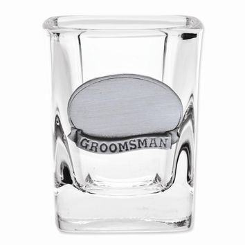 Stainless Steel Engraveable Groomsman Plate Shot Glass - Engravable Wedding Gift