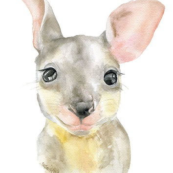 Kangaroo Watercolor - Baby Joey