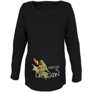 LMFCY8 Mother of a Dragon Cute Green Fire Maternity Soft Long Sleeve T Shirt