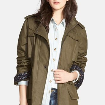Women's Laundry by Design Waxed Field Jacket with Detachable Hood,