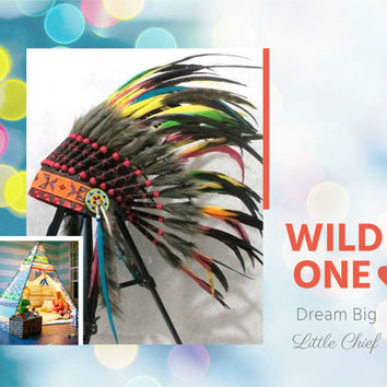 Native American Headdress for kids, Indian kids room decoration, Indian Warbonnet, Birthday party, Tee Pee party, pow wow, kids photography