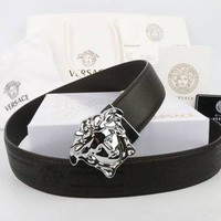 VERSACE Woman Men Fashion Smooth Buckle Leather Belt
