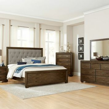 5 pc Leavitt collection brown cherry finish wood tufted headboard queen bedroom set
