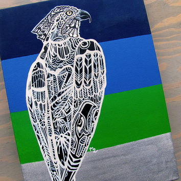 Seahawk Zentangle Canvas Print