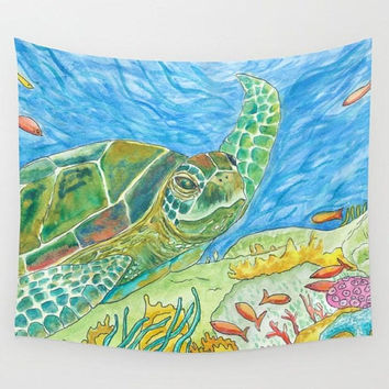 Sea Turtle Wall Tapestry, fabric wall art, conservation, ecology, coral reef, ocean, surfer, coastal dorm decor