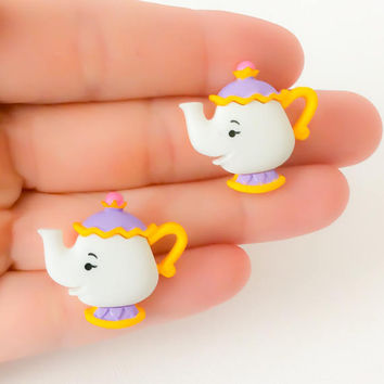 Disney Mrs Potts ~ Beauty Beast Gift ~ Disney Buttons ~ Mrs Potts Earrings ~ Beauty Beast Jewelry ~ Disney Jewelry ~ Mrs Potts Tea Pot ~