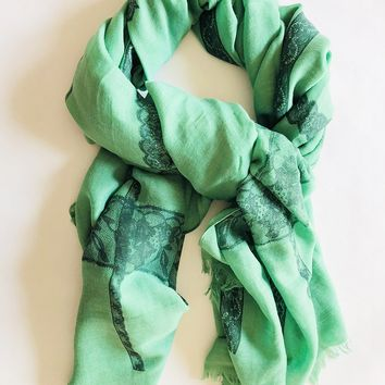 Printed Lace Scarf in Green