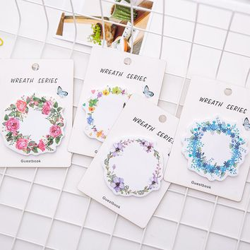 Beautiful Wreath Flowers Sticky Notes Post It Adhesive Memo Pad School Planner Stickers Paper Bookmarks Korean Stationery