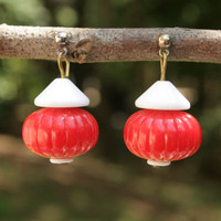 70s Jewelry 70s Earrings Red White Kitsch Dangle Drop Earrings Post Earrings Chinese Lantern Fishing Bobber Earrings Vintage Womens Jewelry