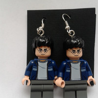 Harry Potter  mad face minifigure  dangle earrings made with LEGO®  bricks