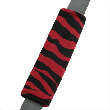 Zebra Stripe Red Black Seat Belt Pad