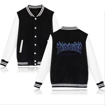 Thrasher flame special large size tide coat plus cashmere couple baseball clothing Black letters-3