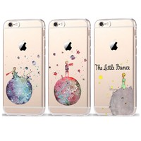Cartoon The Little Prince The earth space Transparent Plastic Cover Case For iPhone 7 7 Plus 6 6S Plus 5 5S SE Case Coque Fundas