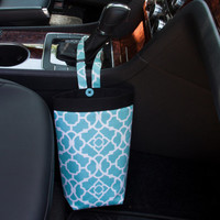 SMALL CAR TRASH Bag, Waverly Lovely Lattice Aqua, Women, Car Litter Bag, Auto Accessories, Auto Bag, Trash Bag, Car Caddy