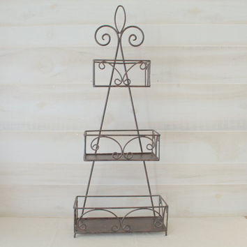 Vintage Wrought Iron Shelf, Free Standing Metal Shelving Unit, 3-Tier Scrolled Decorative Shelf