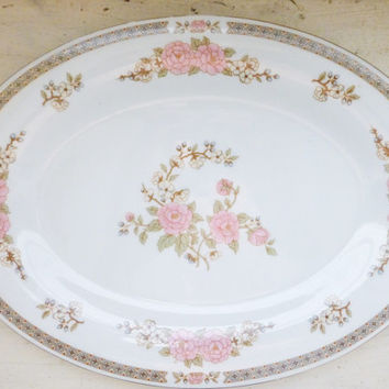 Fairfield China, Spring Mist Pattern, serving platter, pink floral, fine china, vintage servingware, housewarming, wedding present