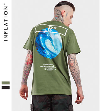 New Spring Summer T shirts Men Fashion short sleeved Slim Tees Wave Painting Printed Men Tshirt