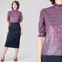 60s Plaid Ruffled Blouse / Tartan Button Up Shirt / Shimmery High Collar Classy Small S Blouse