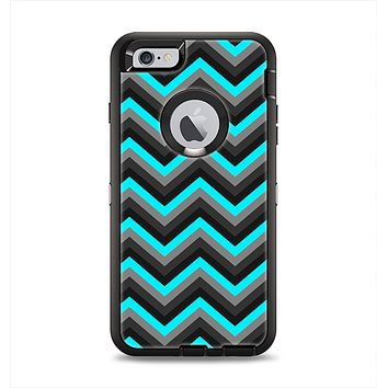 The Turquoise-Black-Gray Chevron Pattern Apple iPhone 6 Plus Otterbox Defender Case Skin Set