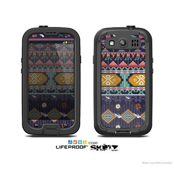 The Vector Purple and Colored Aztec pattern V4 Skin For The Samsung Galaxy S3 LifeProof Case