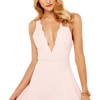 Scallop Neck Deep V Dress in Dusty Rose