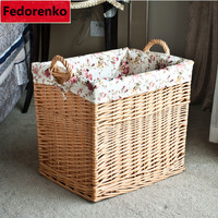 Large rattan wicker storage baskets woven straw laundry basket