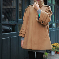 Women long camel cape Wool Cape Cashmere coat  by AngelCity2012