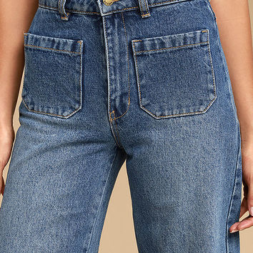 Rollas Sailor Flare Medium Wash High-Waisted Jeans