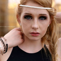 Boho hippy headbands simple suede braid, adjustable chain back NO ELASTIC.