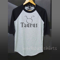 Taurus shirt baseball t shirt or racer back tank top /raglan shirt/ zodiac art unisex clothing size S M L XL