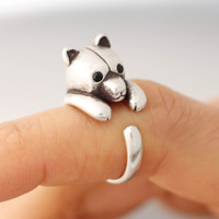 Adjustable Bear Rings/ Bear Ring Womens Girls Retro Burnished Animal Ring Jewelry Adjustable Free Size Wrap Ring