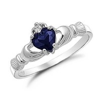 Sterling Silver Irish Claddagh Ring with Simulated Blue Sapphire
