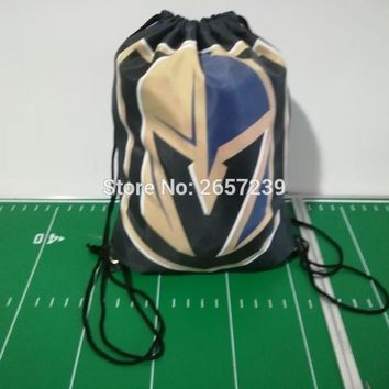 VEGAS GOLDEN KNIGHTS Drawstring Backpack Digital Printing Pouch NHL 100D Polyester brass grommets custom Bags, Free Shipping