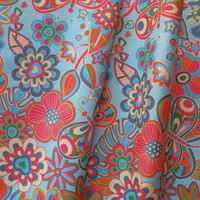 my butterflies and flowers in blue. - juliagrifol - Spoonflower