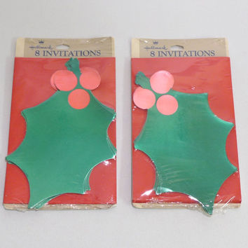 Holly Invitations, 16 Party Invitations, Christmas Party, Hallmark Invitations, Green Holly Leaves, 2 Packs New Cards, Winter Holiday Party