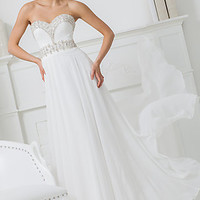 White Strapless Tony Bowls Gown