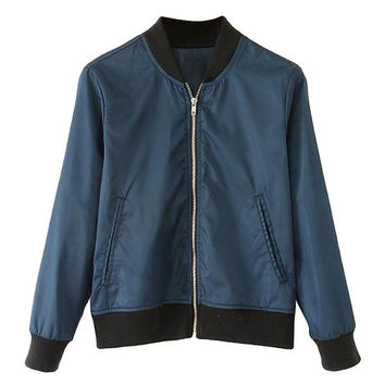 Sporty Navy Bomber Jacket = 1930052356