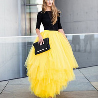 Maxi Skirts Long Faldas Tulle Skirt Long For Ladies Yellow Skirt Women Unique  Ruffles Skirts