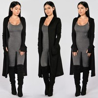 Black Long Coat with Hoods