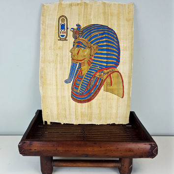 Vintage Egyptian Pharaoh Painting on Papyrus, Gold Blue Red Egyptian Painting, Egypt Souvenir,  Royal Egyptian King, Ancient Egypt Artwork